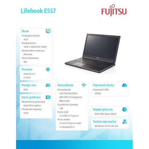 Fujitsu Lifebook E557 FHD i7-7500U 8GB 512SSD TPM W10P 1Y Serial Port