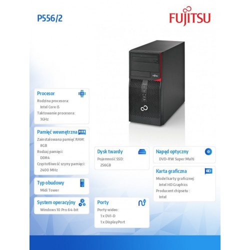 Fujitsu Esprimo P556/2 i5-7400 8GB 256SSD DVD W10P 1Y