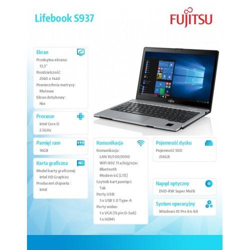 Fujitsu Lifebook S937 WQHD i5-7200U 16GB 256M.2 LTE PV NFC BT TPM W10P 2Y + BATTERY 2ND