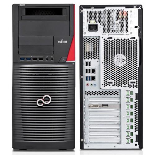 FUJITSU CELSIUS M740 Xeon E5-1620v3 2x8GB ECC brak-VGA DVD-SM MultiCard Reader 24in1 SSD 256GB HDD 2TB KB Mouse Win10 Pro/Win7 P