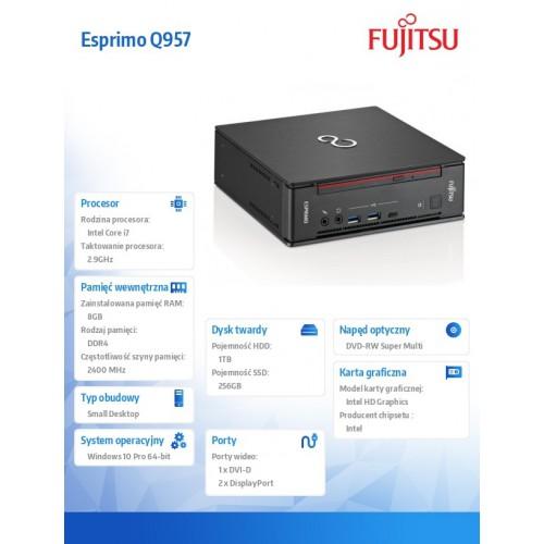 Fujitsu Esprimo Q957 i7-7700T 8GB 256SSD 1TB DVDSM W10P 3Y