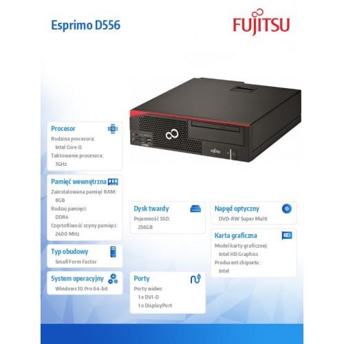 Fujitsu Esprimo D556/2 i5-7400 8GB 256SSD DVD W10P 1Y