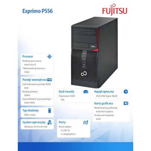 FUJITSU ESPRIMO P556/2 E85+ Core i5-7400 8GB DVD-SM 1TB KB Mouse Win10 Pro64