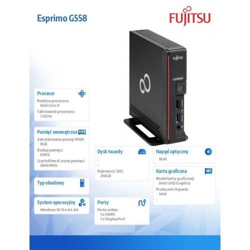 Fujitsu Esprimo G558 i3-9100 8GB 256SSD DVDSM W10P 3Y