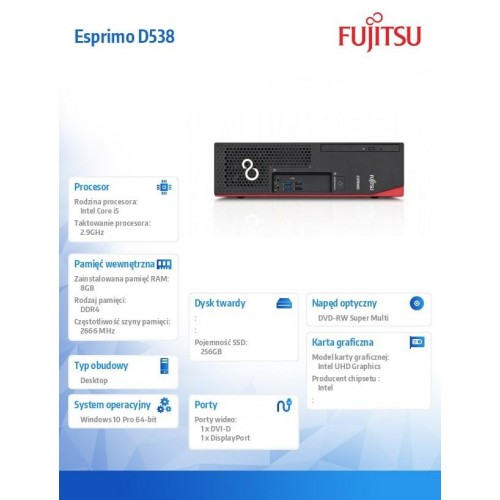 Fujitsu Esprimo D538 i5-9400 8GB 256SSD DVDSM W10P 1Y