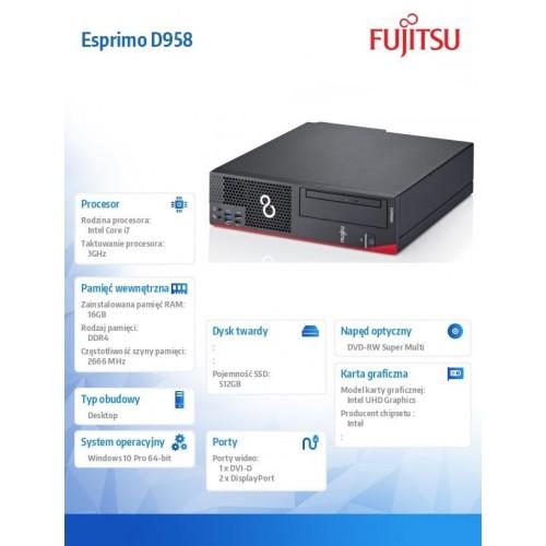 Fujitsu Esprimo D958 E94+ i7-9700 16GB 512SSD DVDSM W10P 3Y