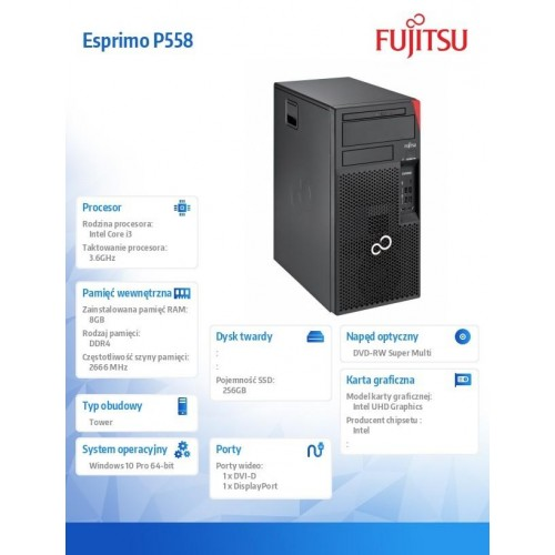 Fujitsu Esprimo P558 i3-9100 8GB 256SSD DVDSM W10P 1Y