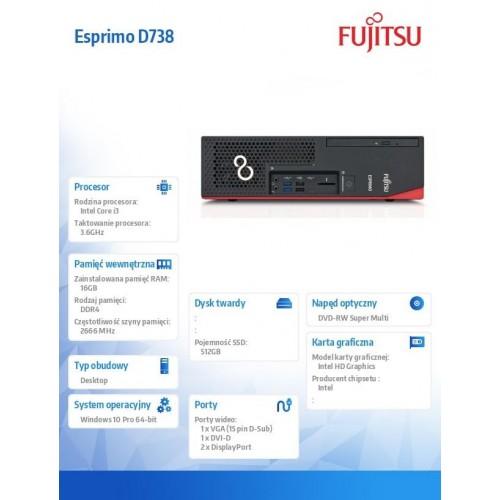 Fujitsu Esprimo D738 E85+ i3-8100 16GB 512SSD SerialPort DVDSM W10P 5YOSNBD HDDret