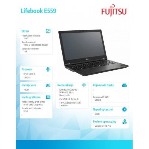 Notebook Lifebook E559/W10P/15,6 i5-8265U/16GB/SSD512/3YO PCK:E5590M252FPL