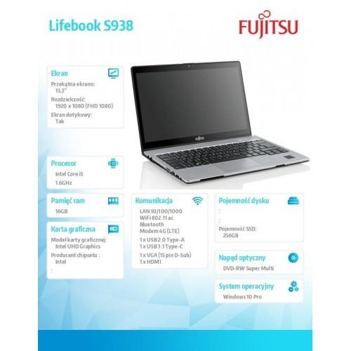 Notebook Lifebook S938 W10P/3YO i5-8250U/16G/SSD256M.2 PCK:S9380M151FPL