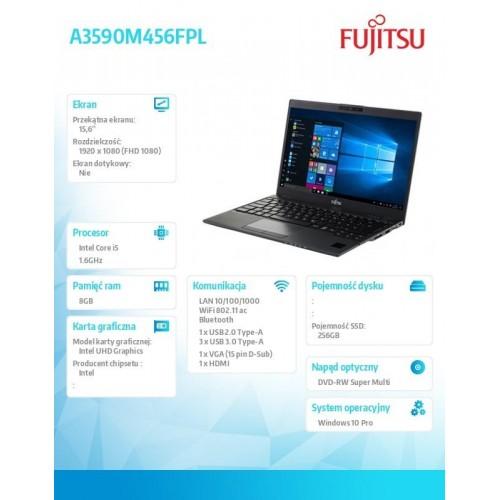 Fujitsu Lifebook A359 FHD i5-8250U 8GB 256SSD DVDSM W10P 3YOS