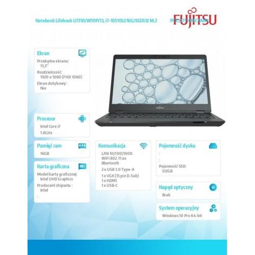 Fujitsu Lifebook U7310 FHD i7-10510U 16GB 512SSD W10P 3YOS