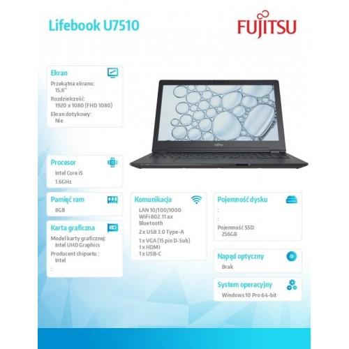 Fujitsu Lifebook U7510 FHD i5-10210U 8GB 256SSD W10P 3YOS