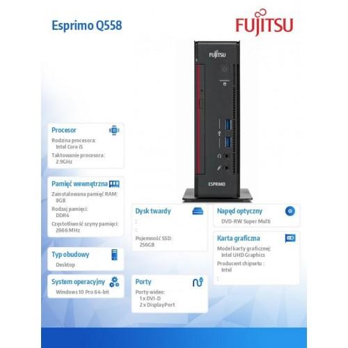 Fujitsu Esprimo K558 E85+ i5-9400 8GB 256SSD DVDSM W10P 3Y