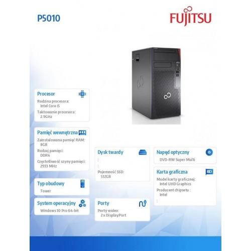 Komputer Esprimo P5010/Win10 i5-10400/8GB/SSD512/DVD PCK:P5010PC52MPL