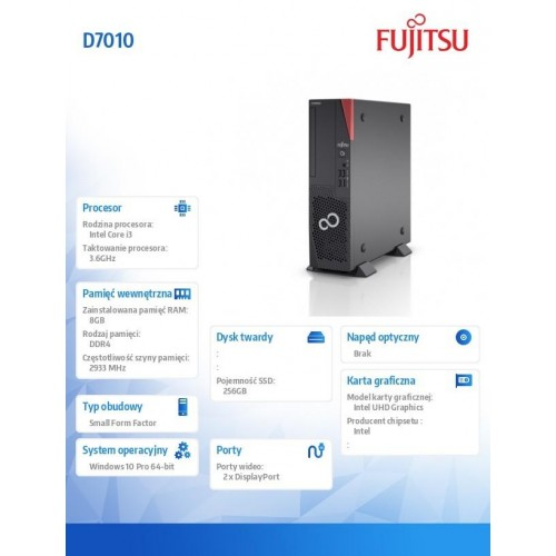 Fujitsu Esprimo D7010 i3-10100 8GB 256SSD WLAN W10P 3YOS