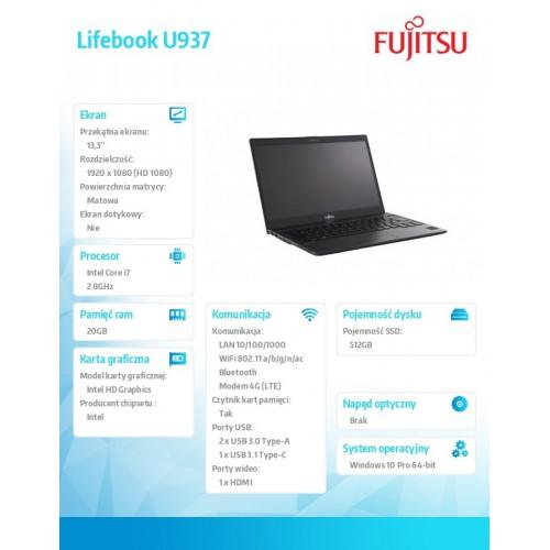 "FUJITSU Lifebook U937 13,3"" FHD Core i7-7600U vPro 20GB SSD 512GB NVMe SED WiFi-AC LTE EM7455 Palm Vein SmartCard TPM 4cell 50Wh"