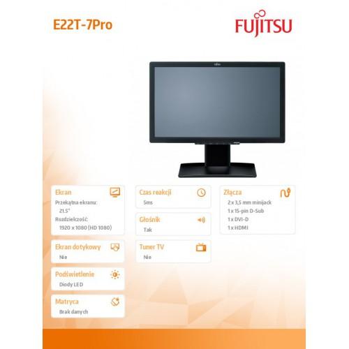 """FUJITSU Monitor 21,5"""" E22T-7 PRO 3Y PROMOCJA !!!! Kupujac monitor w zestawie z komputerem lub stacją graficzna Fujitsu cena 429p"""