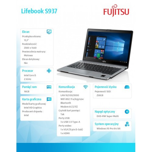 Fujitsu Lifebook S937 FHD i5-7200U 16GB 256SSD LTE NFC 2ndBattery PalmVein W10P 2Y