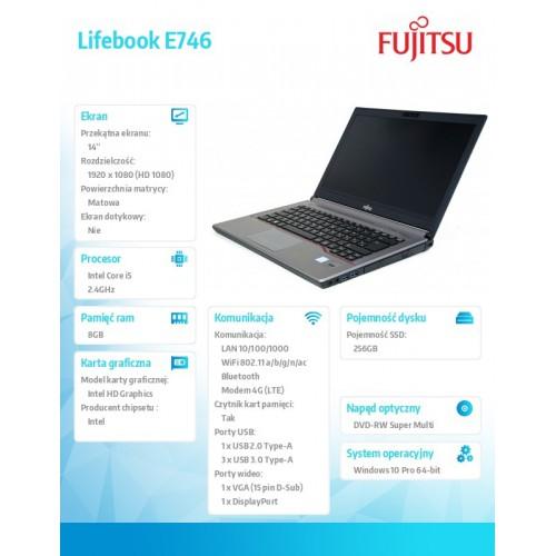 Fujitsu Lifebook E746 FHD i5-6300U 8GB 256SSD LTE FingerSen W10P 2Y
