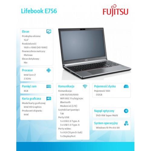 "FUJITSU Lifebook E756 15,6"" FHD Core i7-6500U 8GB DVD-SM SSD 512GB SED WiFI-AC BT LTE EM7305 Fingerprint TPM SmartCard 6cell 72W"