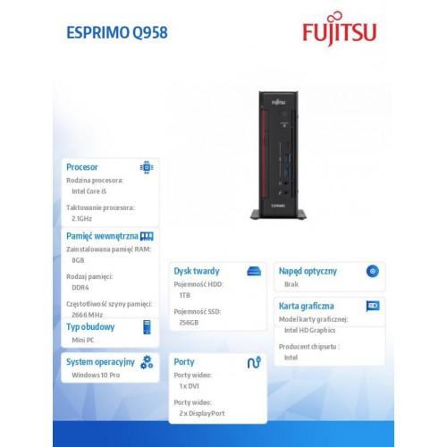 Fujitsu Esprimo Q958 i5-8500T 8GB 1TB 256SSD WLAN BT DVDSM W10P 3Y