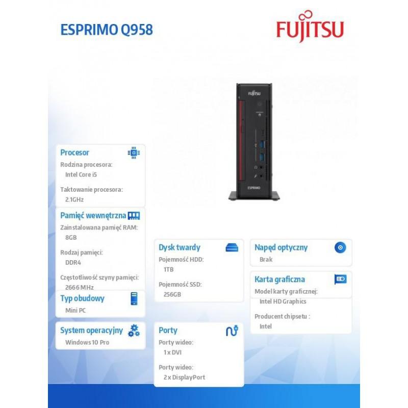Fujitsu Komputer ESPRIMO Q958,i5-8500T,8GB,1T, Win 10