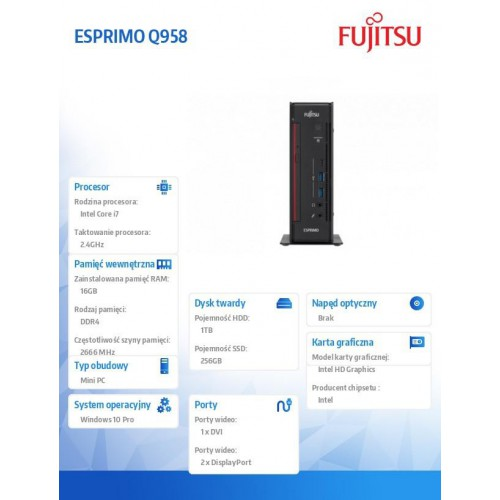 Fujitsu Esprimo Q958 i7-8700T 2x8GB 1TB 256SSD WLAN BT DVDSM W10P 3Y