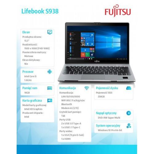 Fujitsu Lifebook S938 FHD i5-8250U 16GB 256SSD LTE 2ndBattery W10P 2Y