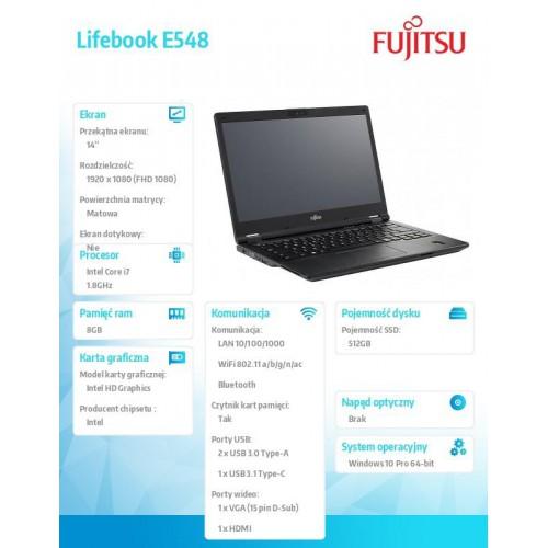 Fujitsu Lifebook E548 FHD i7-8550U 8GB 512SSD W10P 1Y