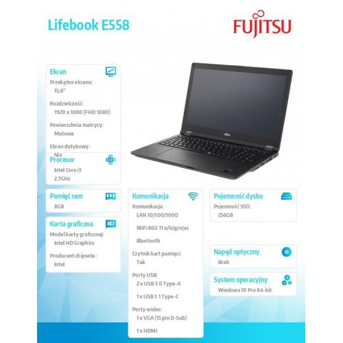 Fujitsu Lifebook E558 FHD i3-7130U 8GB 256SSD W10P 1Y