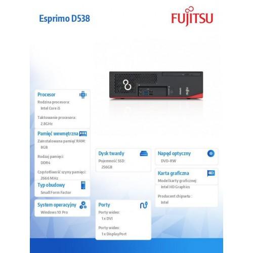 Fujitsu Esprimo D538 i5-8400 8GB 256SSD DVDSM W10P 1Y