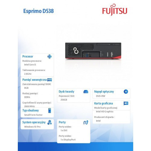 Fujitsu Komputer ESPRIMO D538 E85+,i5-8400,8GB,SSD256,W10