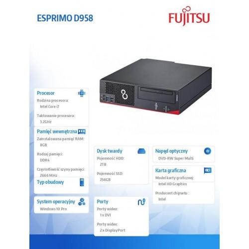 Fujitsu Esprimo D958 i7-8700 2x8GB 2TB 256SSD DVDSM W10P 3Y