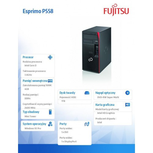 Fujitsu Esprimo P558 i3-8100 4GB 1TB DVDSM W10P 1Y