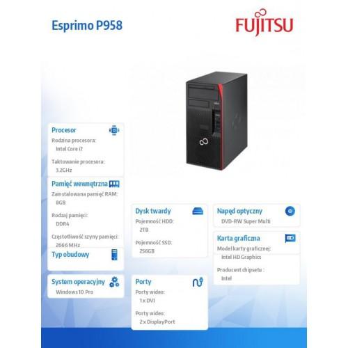 Fujitsu Esprimo P958 i7-8700 8GB 2TB 256SSD DVDSM W10P 3Y