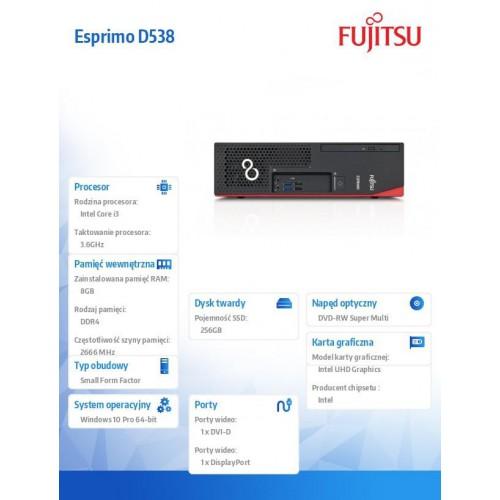 Fujitsu Esprimo D538 i3-8100 8GB 256SSD DVDSM W10P 1Y