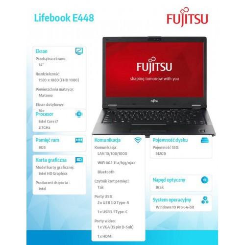 Fujitsu Lifebook E448 FHD i5-7200U 8GB 256SSD W10P 1Y