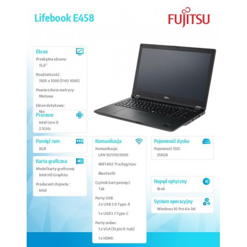 Fujitsu Lifebook E458 FHD i5-7200U 8GB 1TB W10P 1Y