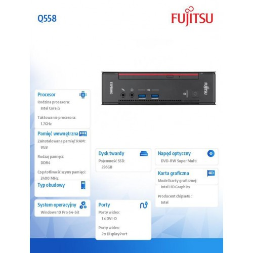 Komputer Esprimo Q558/W10Pro i5-8400T/8GB/SSD256G/ VFY:Q0558P251SPL