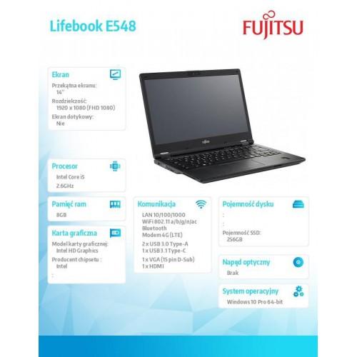 Fujitsu Notebook LifebookE548 14 i5-7300U 8GB SSD256 W10P
